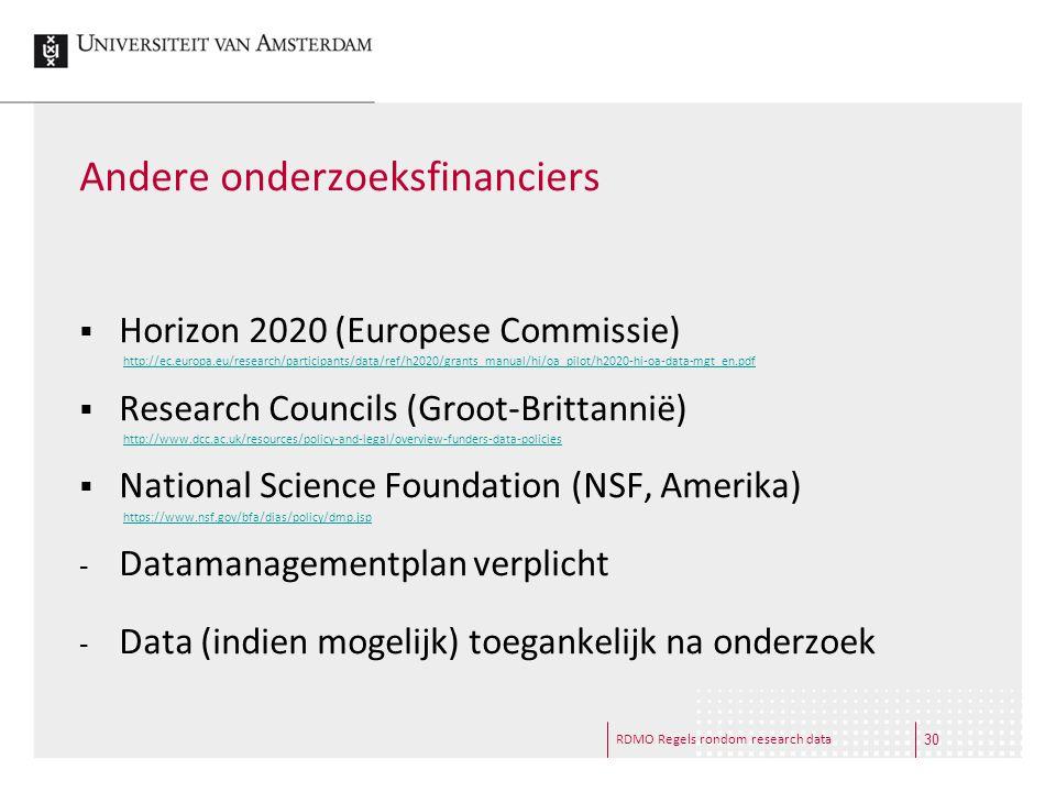 RDMO Regels rondom research data Andere onderzoeksfinanciers  Horizon 2020 (Europese Commissie)  Research Councils (Groot-Brittannië)  National Sci