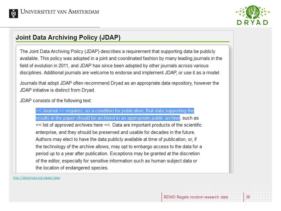 RDMO Regels rondom research data http://datadryad.org/pages/jdap 38