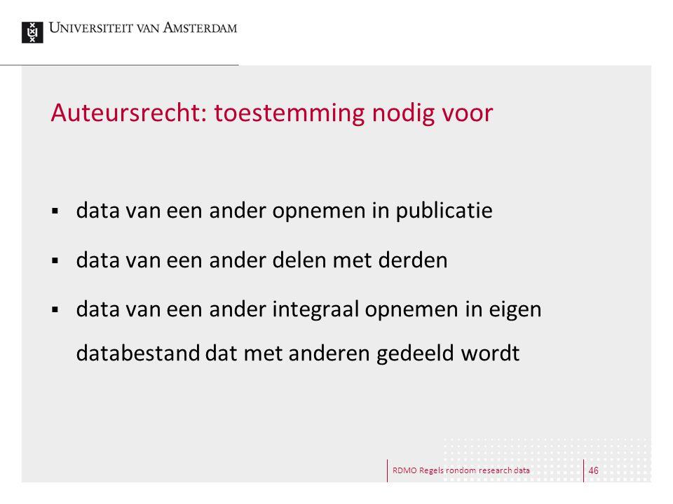 RDMO Regels rondom research data Auteursrecht: toestemming nodig voor  data van een ander opnemen in publicatie  data van een ander delen met derden
