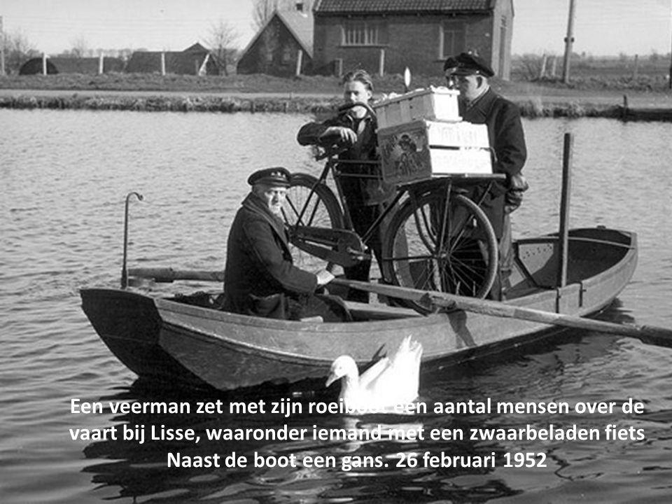 Een veerman zet met zijn roeiboot een aantal mensen over de vaart bij Lisse, waaronder iemand met een zwaarbeladen fiets Naast de boot een gans.