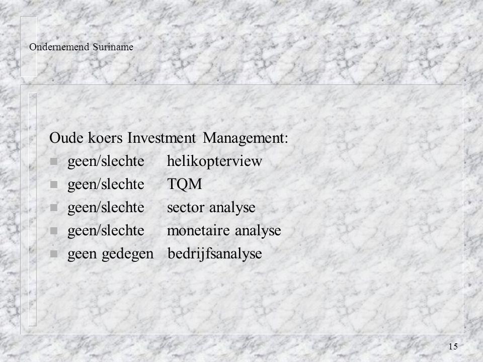15 Ondernemend Suriname Oude koers Investment Management: n geen/slechte helikopterview n geen/slechte TQM n geen/slechte sector analyse n geen/slechte monetaire analyse n geen gedegen bedrijfsanalyse