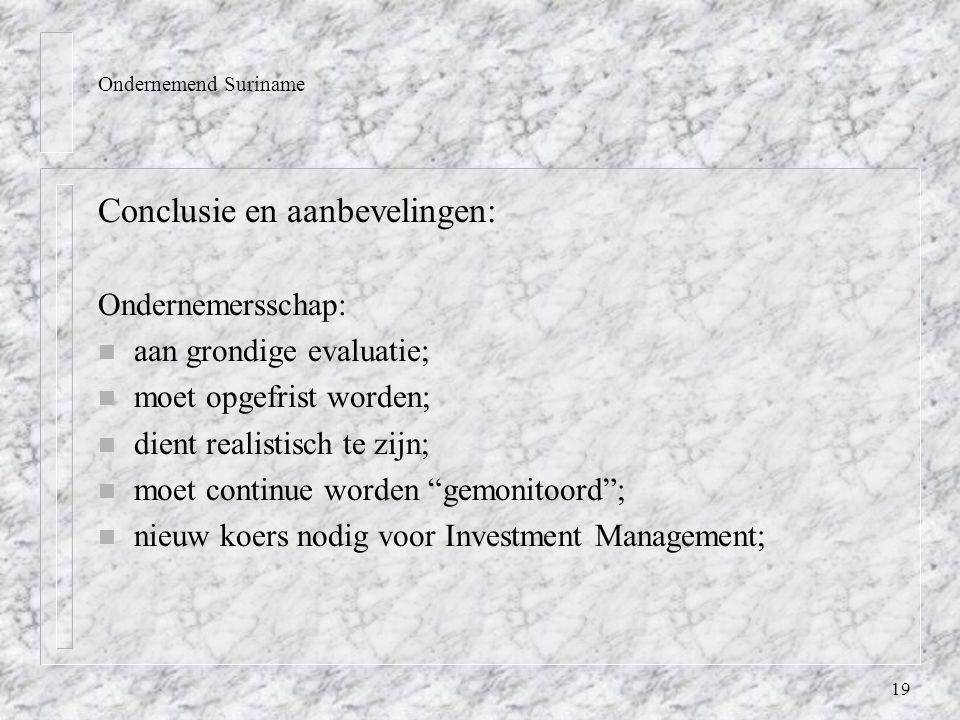 19 Ondernemend Suriname Conclusie en aanbevelingen: Ondernemersschap: n aan grondige evaluatie; n moet opgefrist worden; n dient realistisch te zijn; n moet continue worden gemonitoord ; n nieuw koers nodig voor Investment Management;