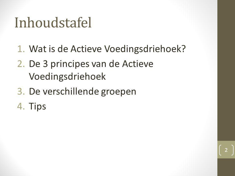 Inhoudstafel 1.Wat is de Actieve Voedingsdriehoek? 2.De 3 principes van de Actieve Voedingsdriehoek 3.De verschillende groepen 4.Tips 2
