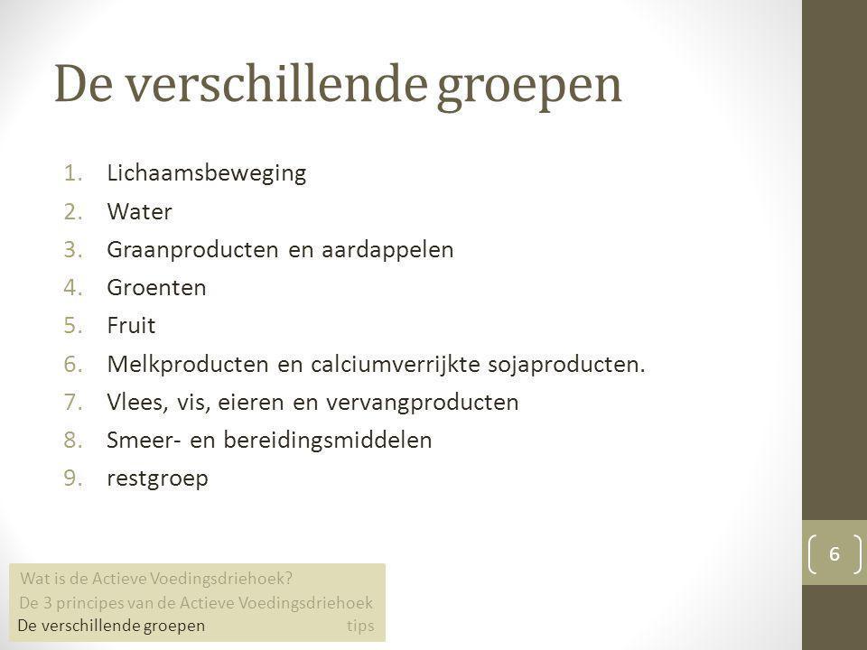De verschillende groepen 1.Lichaamsbeweging 2.Water 3.Graanproducten en aardappelen 4.Groenten 5.Fruit 6.Melkproducten en calciumverrijkte sojaproduct