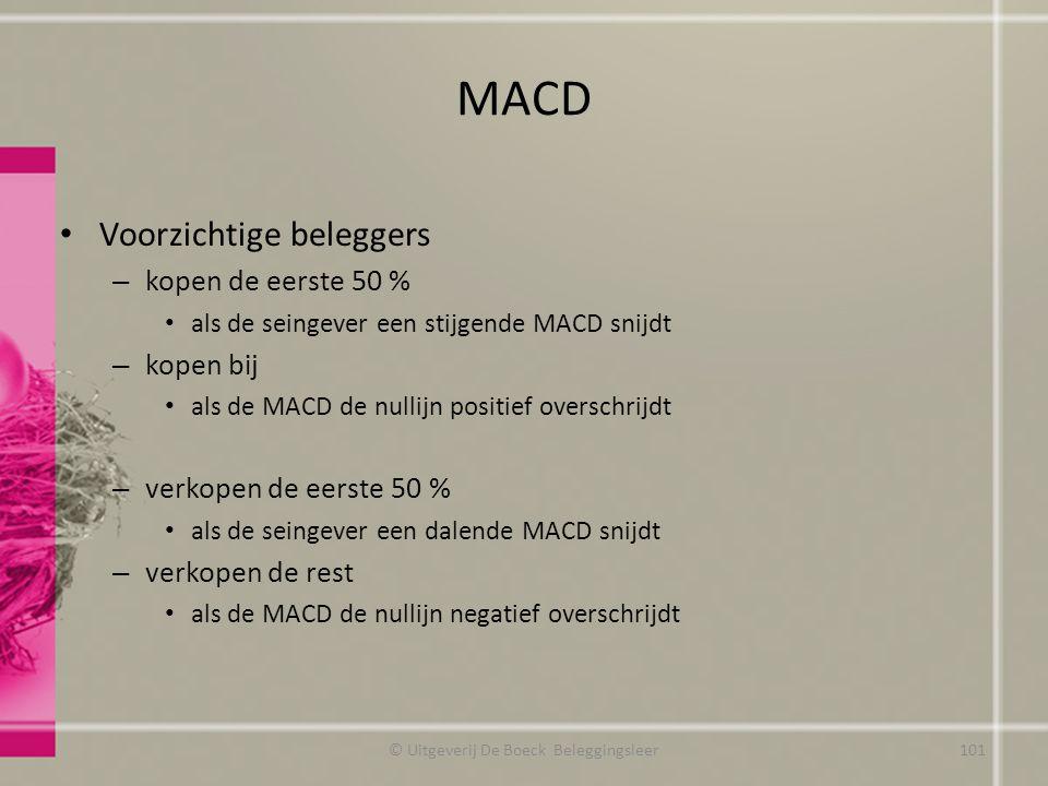 MACD Voorzichtige beleggers – kopen de eerste 50 % als de seingever een stijgende MACD snijdt – kopen bij als de MACD de nullijn positief overschrijdt