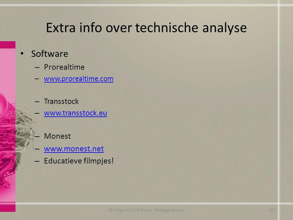 Extra info over technische analyse Software – Prorealtime – www.prorealtime.com www.prorealtime.com – Transstock – www.transstock.eu www.transstock.eu
