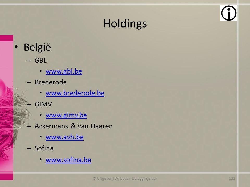 Holdings België – GBL www.gbl.be – Brederode www.brederode.be – GIMV www.gimv.be – Ackermans & Van Haaren www.avh.be – Sofina www.sofina.be © Uitgever