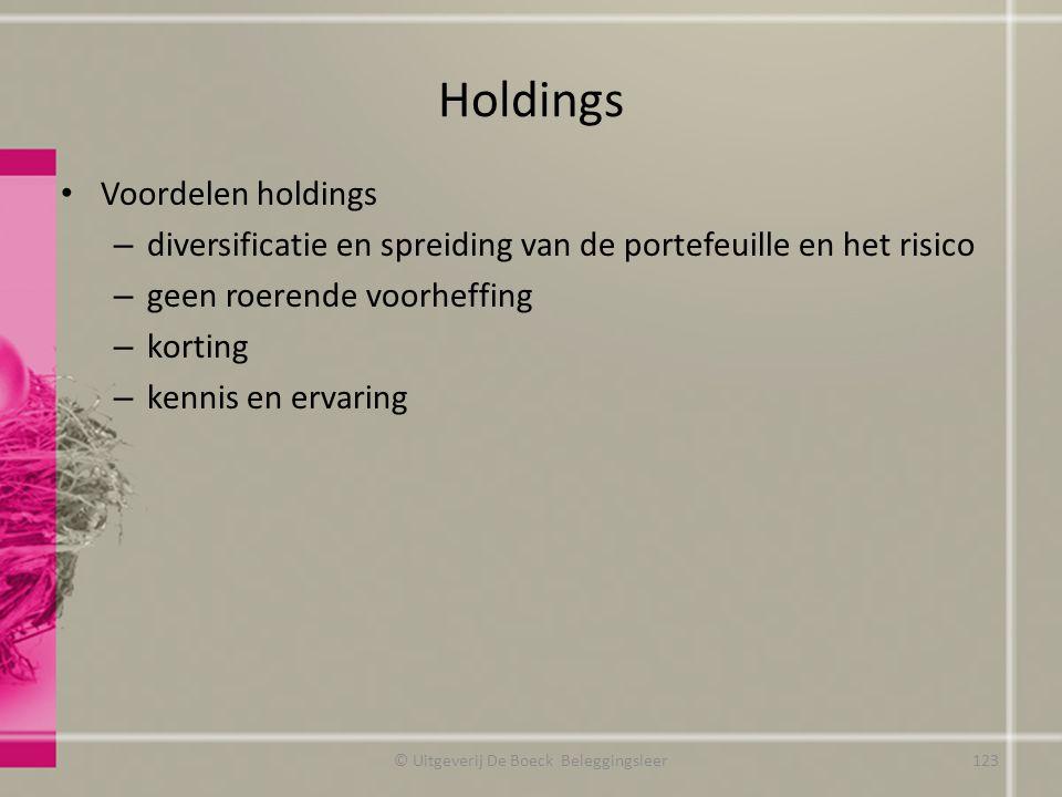 Holdings Voordelen holdings – diversificatie en spreiding van de portefeuille en het risico – geen roerende voorheffing – korting – kennis en ervaring