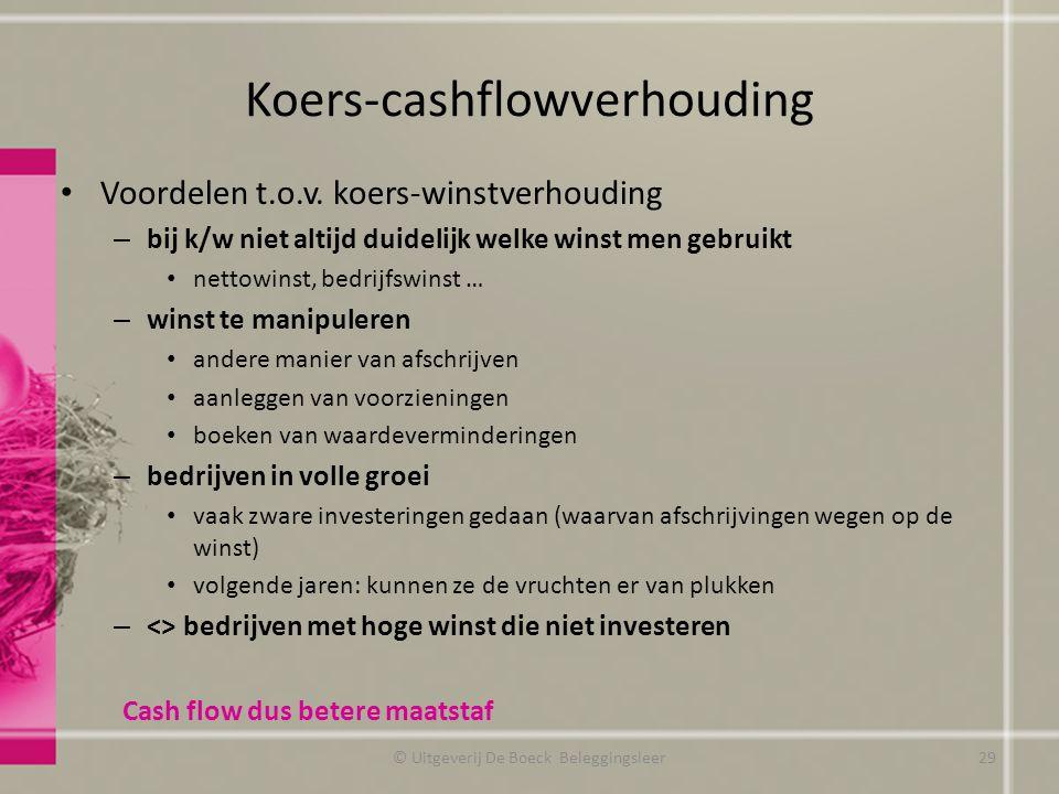 Koers-cashflowverhouding Voordelen t.o.v. koers-winstverhouding – bij k/w niet altijd duidelijk welke winst men gebruikt nettowinst, bedrijfswinst … –