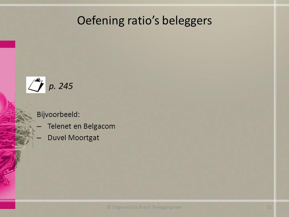 Oefening ratio's beleggers p. 245 Bijvoorbeeld: – Telenet en Belgacom – Duvel Moortgat © Uitgeverij De Boeck Beleggingsleer32