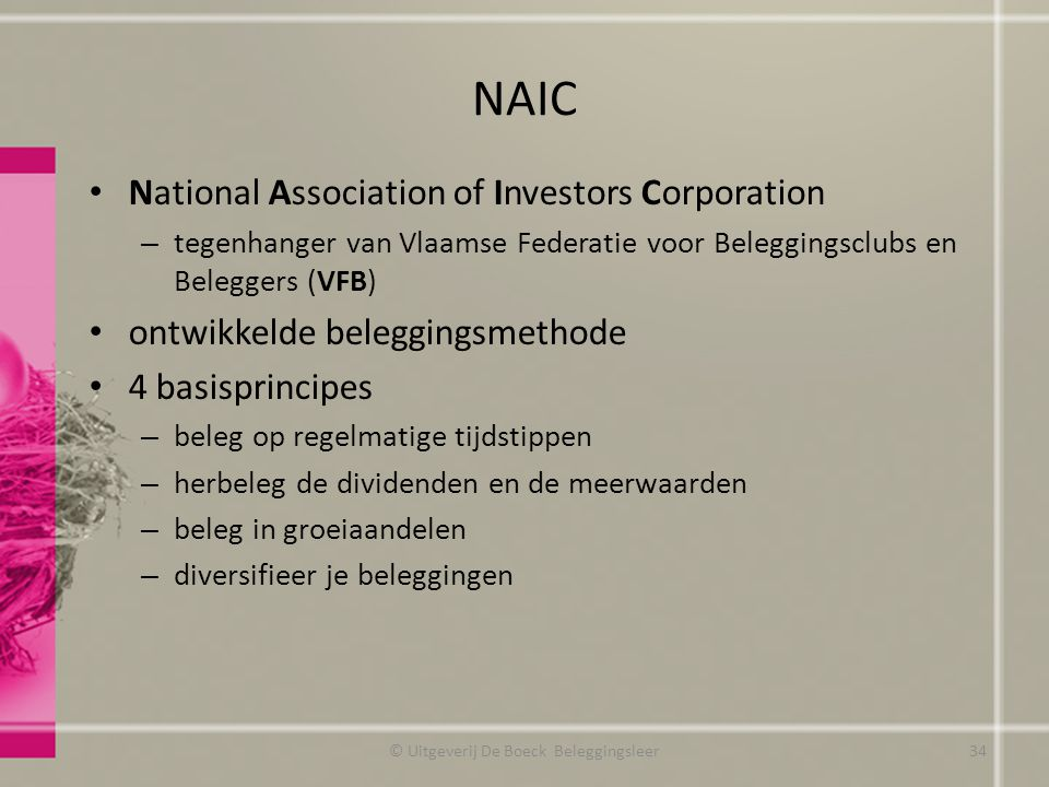 NAIC National Association of Investors Corporation – tegenhanger van Vlaamse Federatie voor Beleggingsclubs en Beleggers (VFB) ontwikkelde beleggingsm