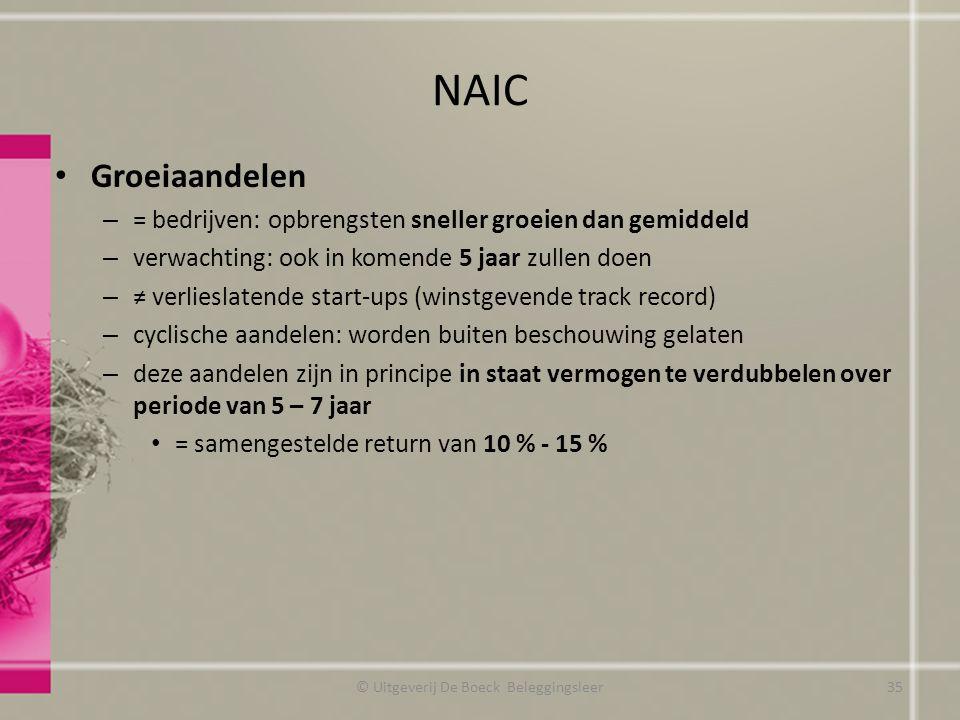 NAIC Groeiaandelen – = bedrijven: opbrengsten sneller groeien dan gemiddeld – verwachting: ook in komende 5 jaar zullen doen – ≠ verlieslatende start-