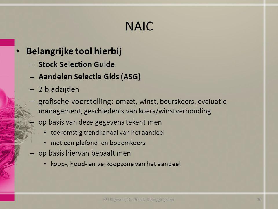 NAIC Belangrijke tool hierbij – Stock Selection Guide – Aandelen Selectie Gids (ASG) – 2 bladzijden – grafische voorstelling: o mzet, winst, beurskoer