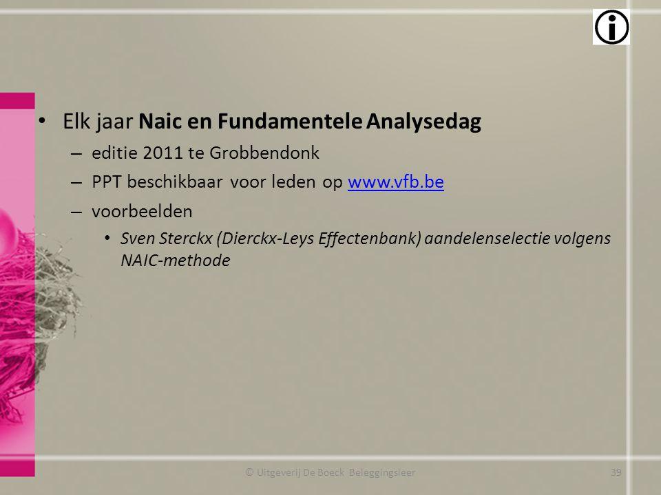 Elk jaar Naic en Fundamentele Analysedag – editie 2011 te Grobbendonk – PPT beschikbaar voor leden op www.vfb.bewww.vfb.be – voorbeelden Sven Sterckx