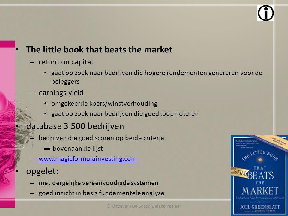 The little book that beats the market – return on capital gaat op zoek naar bedrijven die hogere rendementen genereren voor de beleggers – earnings yi