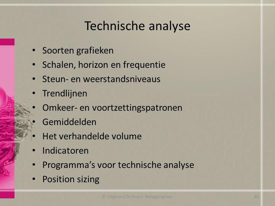 Technische analyse Soorten grafieken Schalen, horizon en frequentie Steun- en weerstandsniveaus Trendlijnen Omkeer- en voortzettingspatronen Gemiddeld