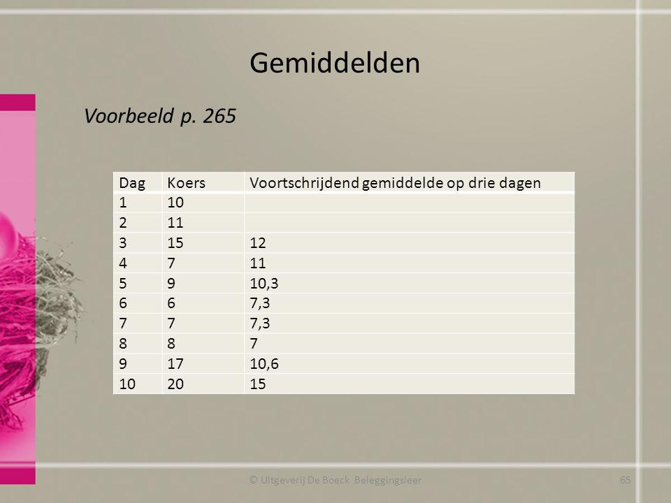 Gemiddelden © Uitgeverij De Boeck Beleggingsleer DagKoersVoortschrijdend gemiddelde op drie dagen 110 211 31512 4711 5910,3 667,3 77 887 91710,6 10201