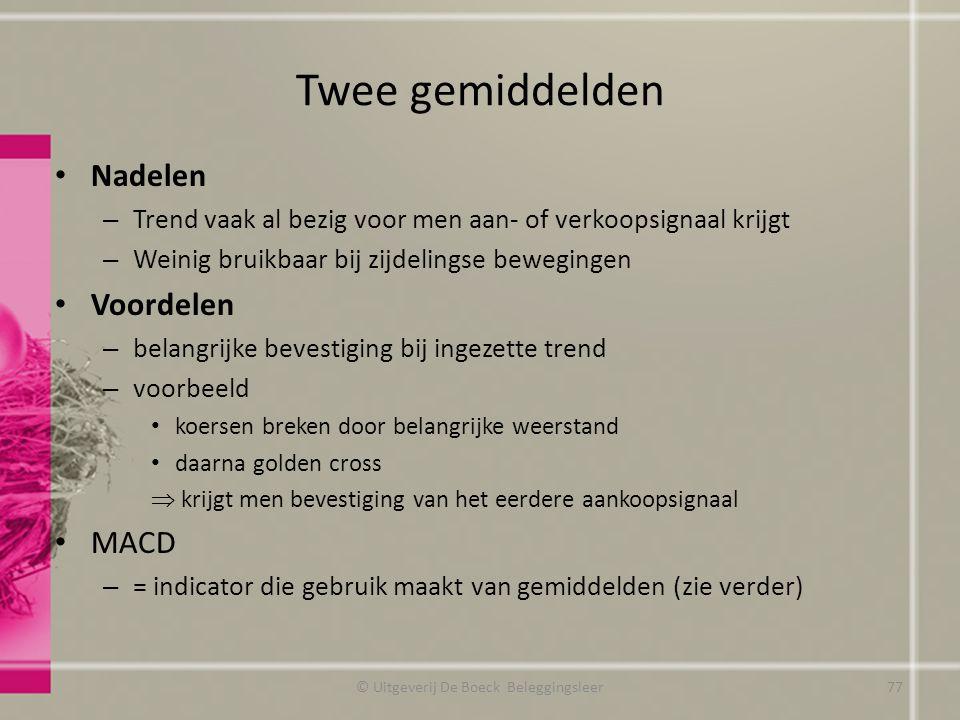 Twee gemiddelden Nadelen – Trend vaak al bezig voor men aan- of verkoopsignaal krijgt – Weinig bruikbaar bij zijdelingse bewegingen Voordelen – belang