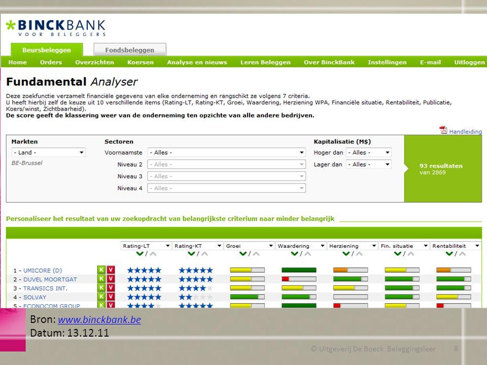 © Uitgeverij De Boeck Beleggingsleer Bron: www.binckbank.be www.binckbank.be Datum: 13.12.11 8