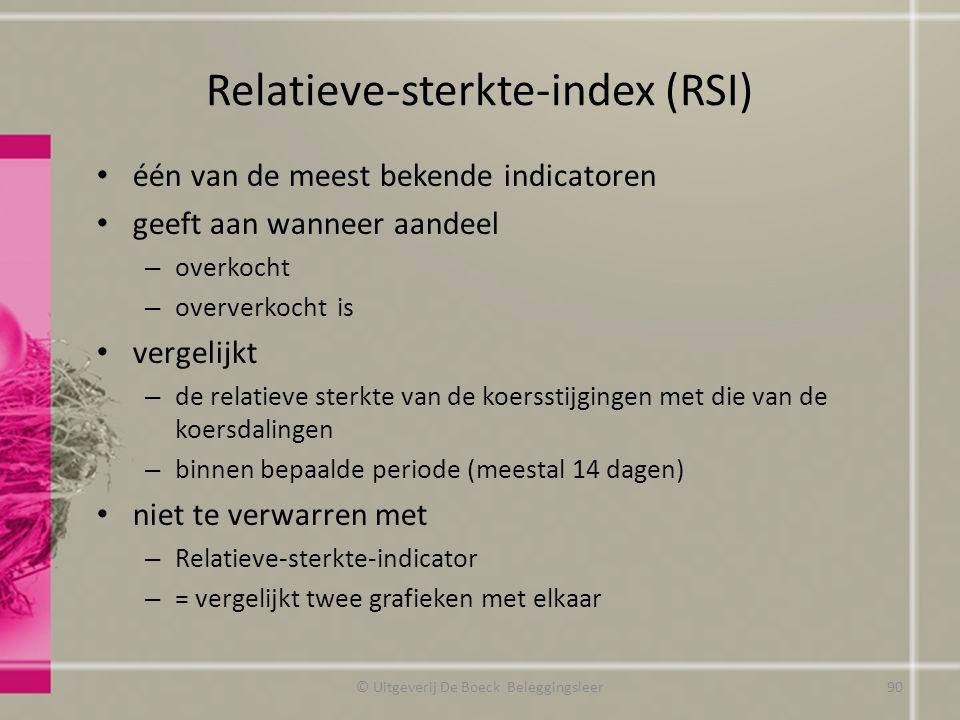 Relatieve-sterkte-index (RSI) één van de meest bekende indicatoren geeft aan wanneer aandeel – overkocht – oververkocht is vergelijkt – de relatieve s