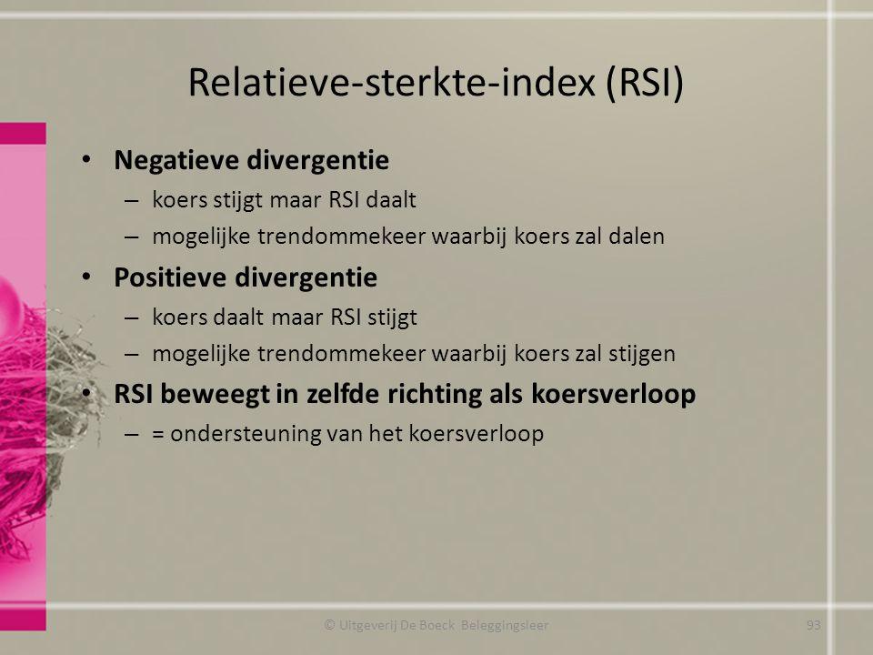 Relatieve-sterkte-index (RSI) Negatieve divergentie – koers stijgt maar RSI daalt – mogelijke trendommekeer waarbij koers zal dalen Positieve divergen