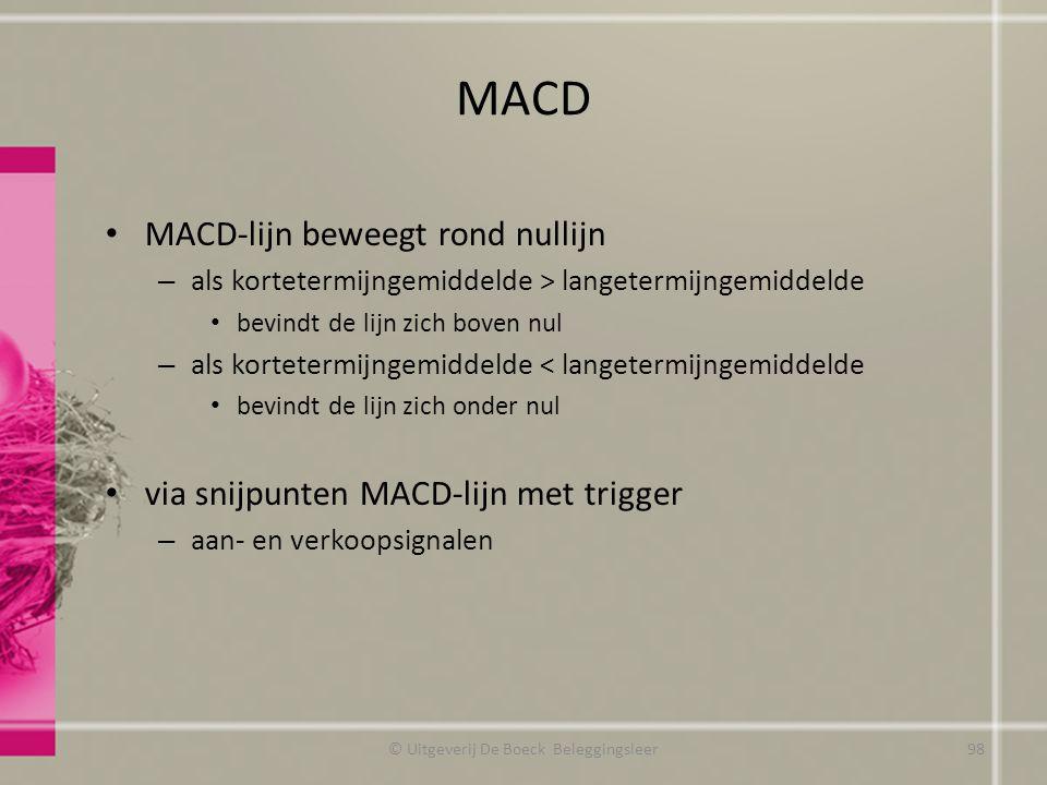 MACD MACD-lijn beweegt rond nullijn – als kortetermijngemiddelde > langetermijngemiddelde bevindt de lijn zich boven nul – als kortetermijngemiddelde
