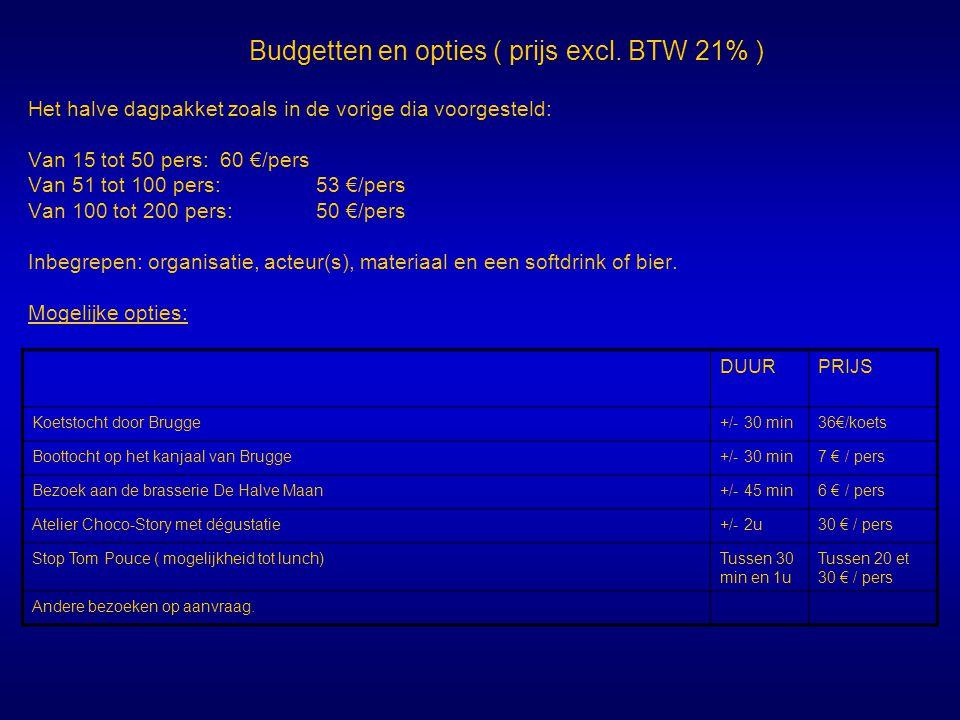Budgetten en opties ( prijs excl. BTW 21% ) Het halve dagpakket zoals in de vorige dia voorgesteld: Van 15 tot 50 pers:60 €/pers Van 51 tot 100 pers:5
