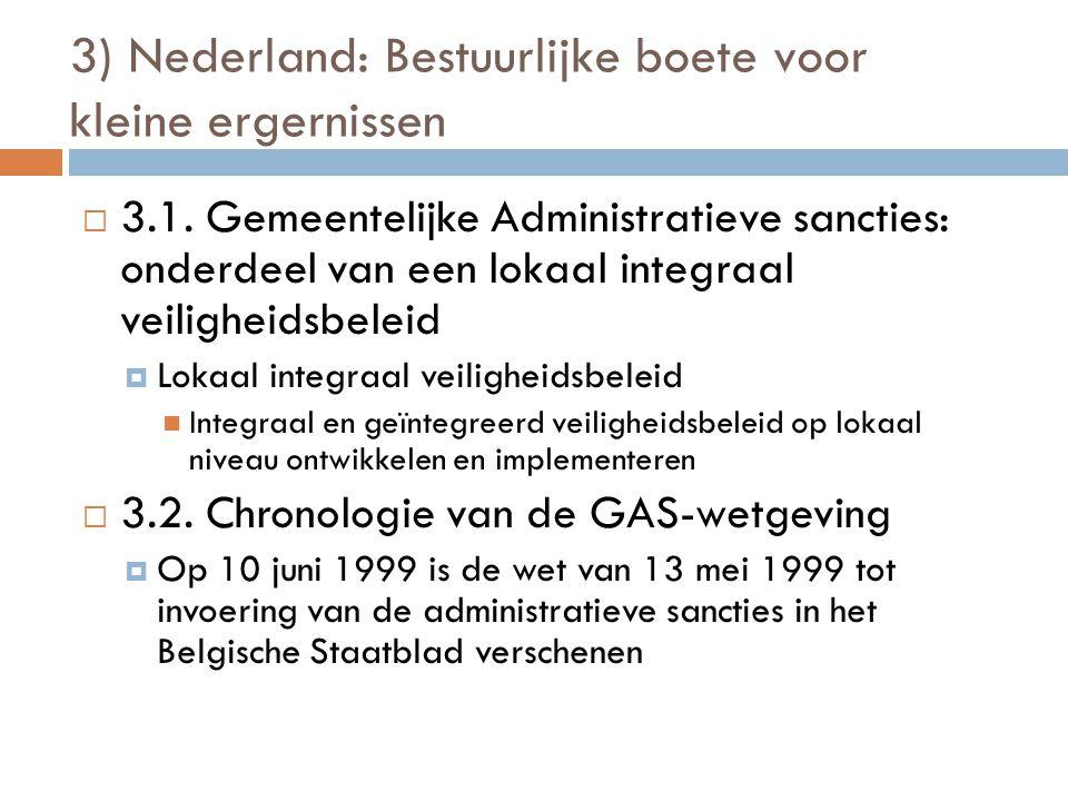 3) Nederland: Bestuurlijke boete voor kleine ergernissen  3.1. Gemeentelijke Administratieve sancties: onderdeel van een lokaal integraal veiligheids