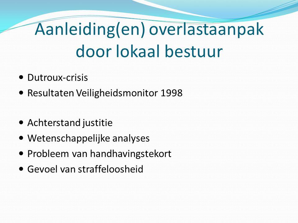 Aanleiding(en) overlastaanpak door lokaal bestuur Dutroux-crisis Resultaten Veiligheidsmonitor 1998 Achterstand justitie Wetenschappelijke analyses Pr