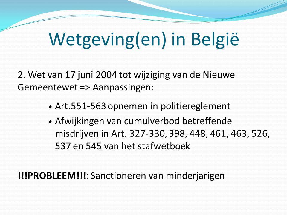 Wetgeving(en) in België 2. Wet van 17 juni 2004 tot wijziging van de Nieuwe Gemeentewet => Aanpassingen: Art.551-563 opnemen in politiereglement Afwij