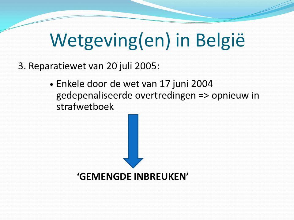 Wetgeving(en) in België 3. Reparatiewet van 20 juli 2005: Enkele door de wet van 17 juni 2004 gedepenaliseerde overtredingen => opnieuw in strafwetboe