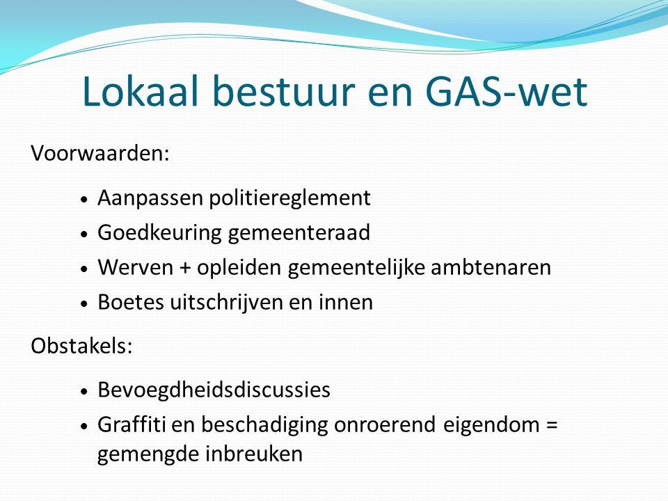 Lokaal bestuur en GAS-wet Voorwaarden: Aanpassen politiereglement Goedkeuring gemeenteraad Werven + opleiden gemeentelijke ambtenaren Boetes uitschrij