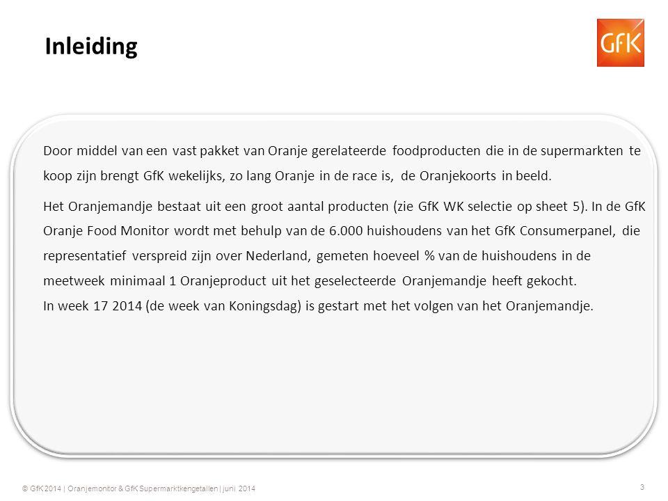 4 © GfK 2014 | Oranjemonitor & GfK Supermarktkengetallen | juni 2014 % kopende huishoudens (Penetratie): Het percentage van alle Nederlandse huishoudens dat tenminste 1 product heeft gekocht van het geselecteerde Oranje mandje in de betreffende week.