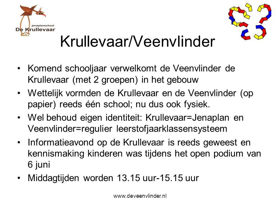 Krullevaar/Veenvlinder Komend schooljaar verwelkomt de Veenvlinder de Krullevaar (met 2 groepen) in het gebouw Wettelijk vormden de Krullevaar en de V