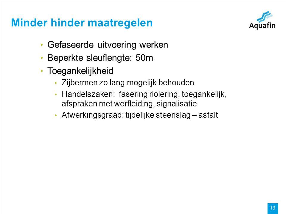 15-12-2010 Aquafin partner for all wastewater projects 13 Minder hinder maatregelen Gefaseerde uitvoering werken Beperkte sleuflengte: 50m Toegankelij
