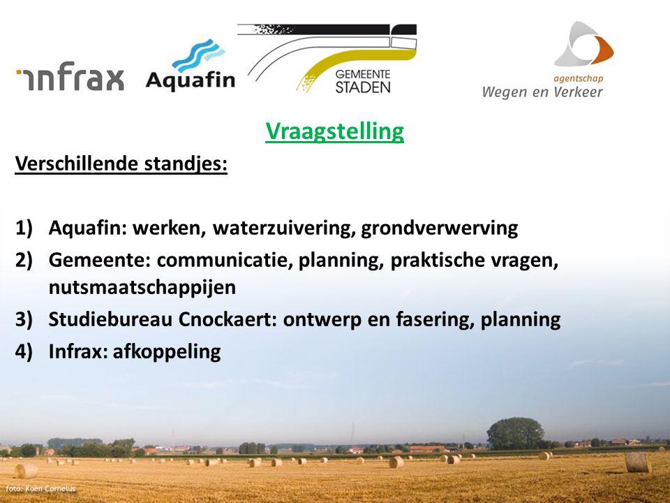 Vraagstelling Verschillende standjes: 1)Aquafin: werken, waterzuivering, grondverwerving 2)Gemeente: communicatie, planning, praktische vragen, nutsma