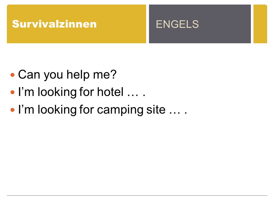Survivalzinnen Can you help me? I'm looking for hotel …. I'm looking for camping site …. ENGELS