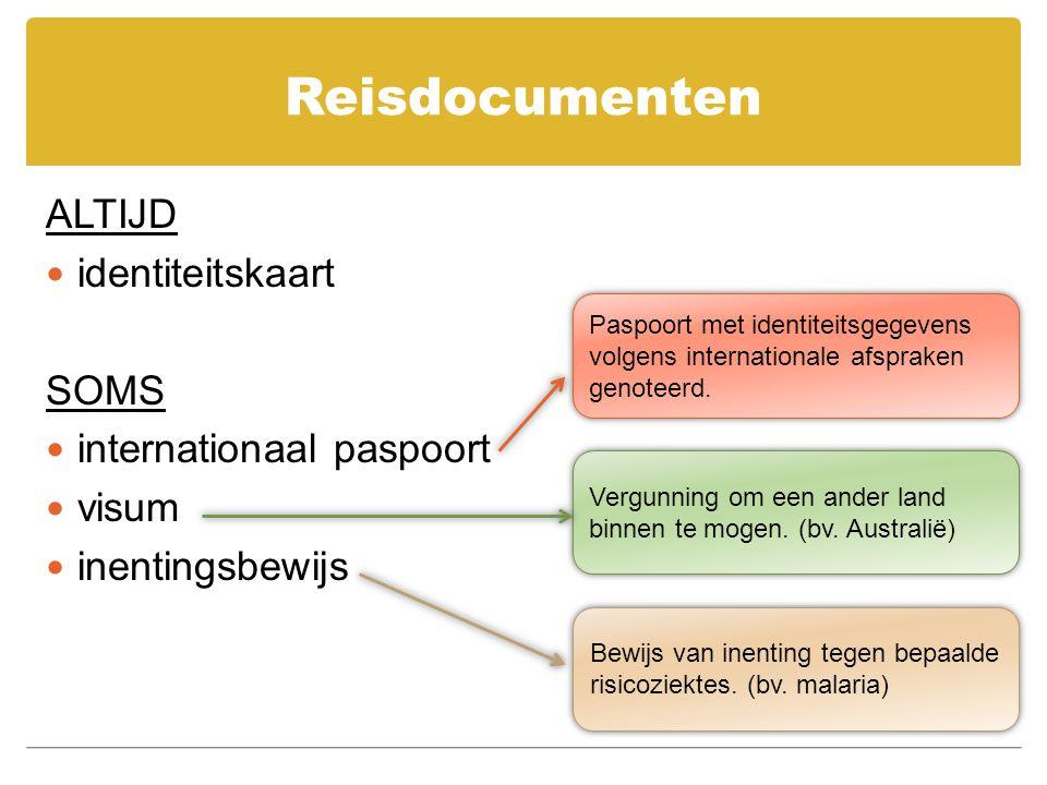 Reisdocumenten ALTIJD identiteitskaart SOMS internationaal paspoort visum inentingsbewijs Paspoort met identiteitsgegevens volgens internationale afsp