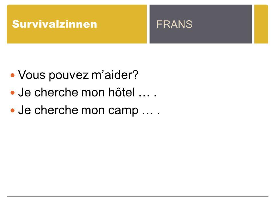 Survivalzinnen Vous pouvez m'aider? Je cherche mon hôtel …. Je cherche mon camp …. FRANS