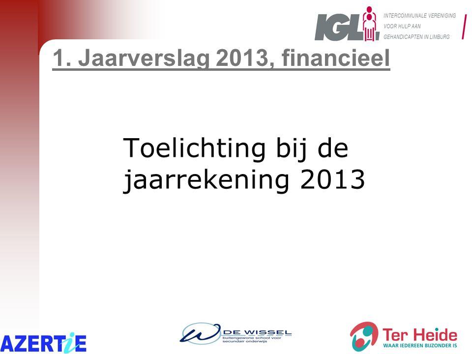 1. Jaarverslag 2013, financieel Toelichting bij de jaarrekening 2013