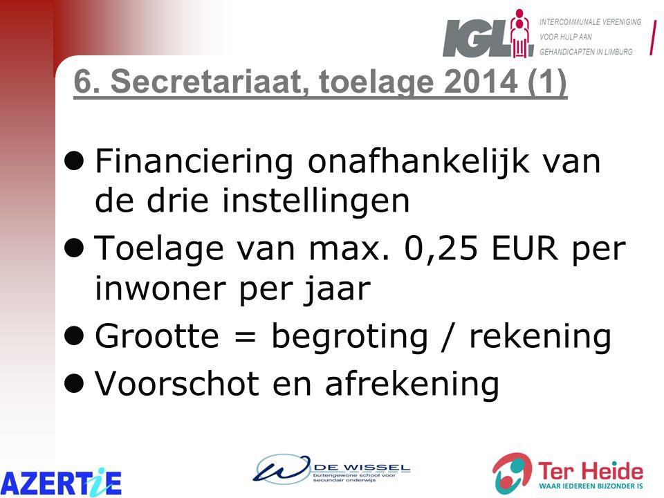 6. Secretariaat, toelage 2014 (1) Financiering onafhankelijk van de drie instellingen Toelage van max. 0,25 EUR per inwoner per jaar Grootte = begroti