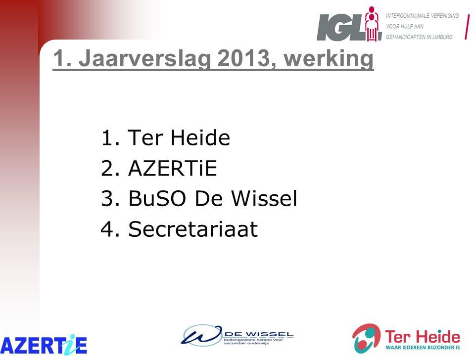 1. Jaarverslag 2013, werking 1.Ter Heide 2.AZERTiE 3.BuSO De Wissel 4.Secretariaat