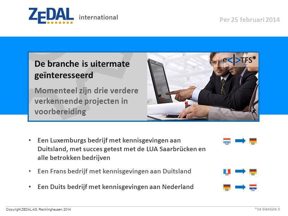 Copyright ZEDAL AG, Recklinghausen, 2014 Een Luxemburgs bedrijf met kennisgevingen aan Duitsland, met succes getest met de LUA Saarbrücken en alle bet