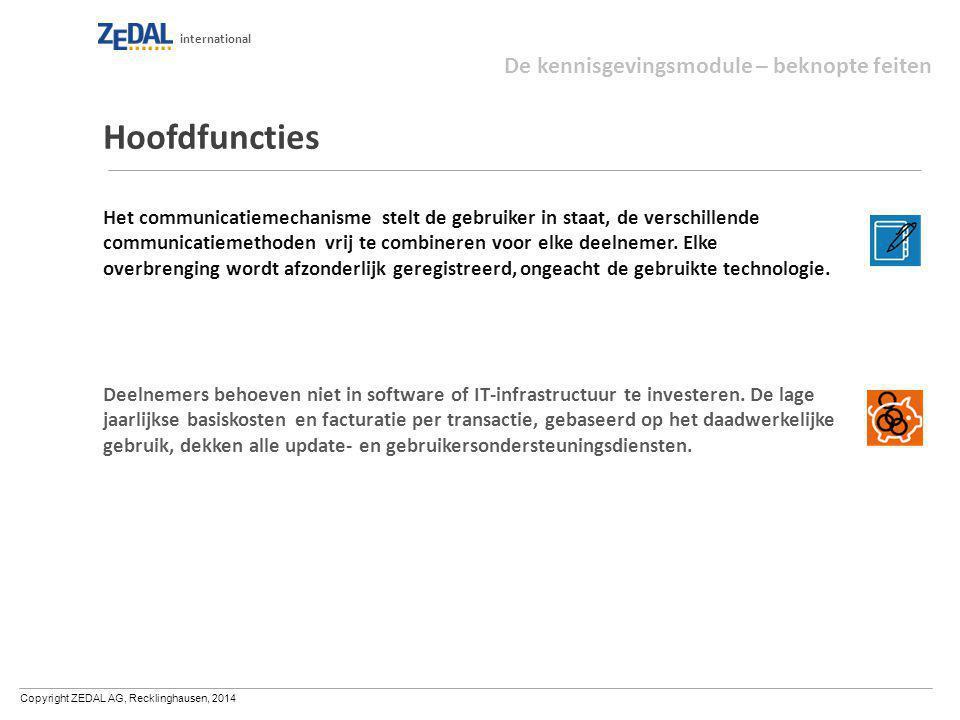 Copyright ZEDAL AG, Recklinghausen, 2014 international Hoofdfuncties Het communicatiemechanisme stelt de gebruiker in staat, de verschillende communic