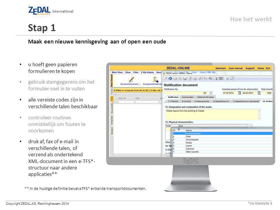 Copyright ZEDAL AG, Recklinghausen, 2014 international Maak een nieuwe kennisgeving aan of open een oude u hoeft geen papieren formulieren te kopen ge