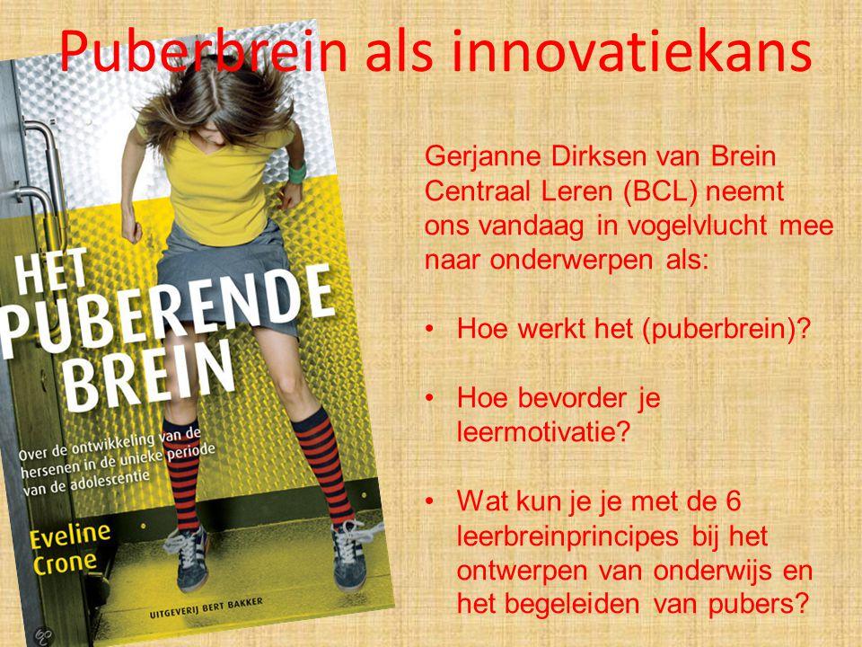Gerjanne Dirksen van Brein Centraal Leren (BCL) neemt ons vandaag in vogelvlucht mee naar onderwerpen als: Hoe werkt het (puberbrein)? Hoe bevorder je