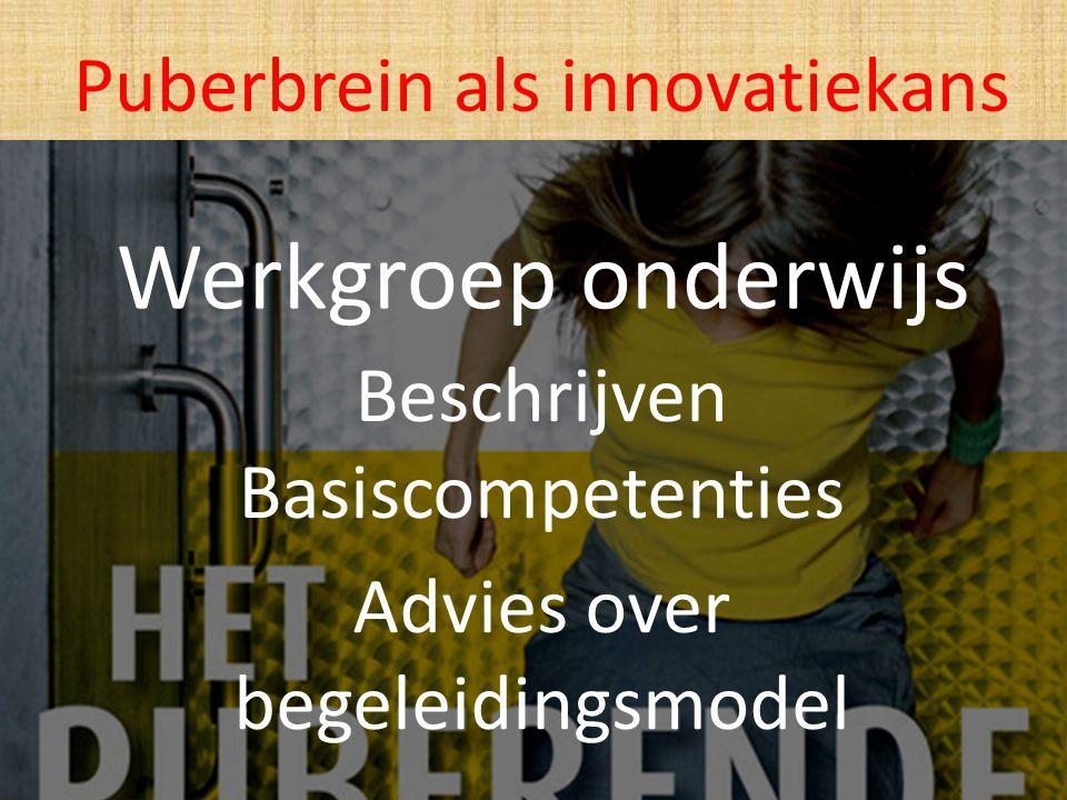 Werkgroep onderwijs Beschrijven Basiscompetenties Advies over begeleidingsmodel Puberbrein als innovatiekans
