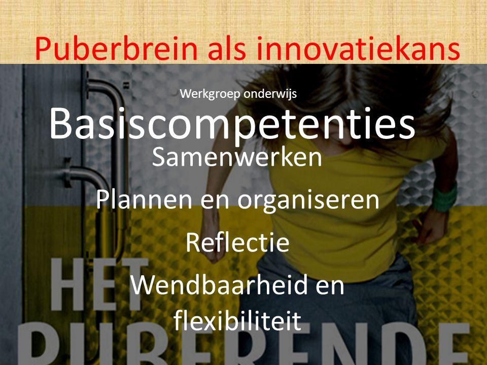 Basiscompetenties Samenwerken Plannen en organiseren Reflectie Wendbaarheid en flexibiliteit Puberbrein als innovatiekans Werkgroep onderwijs