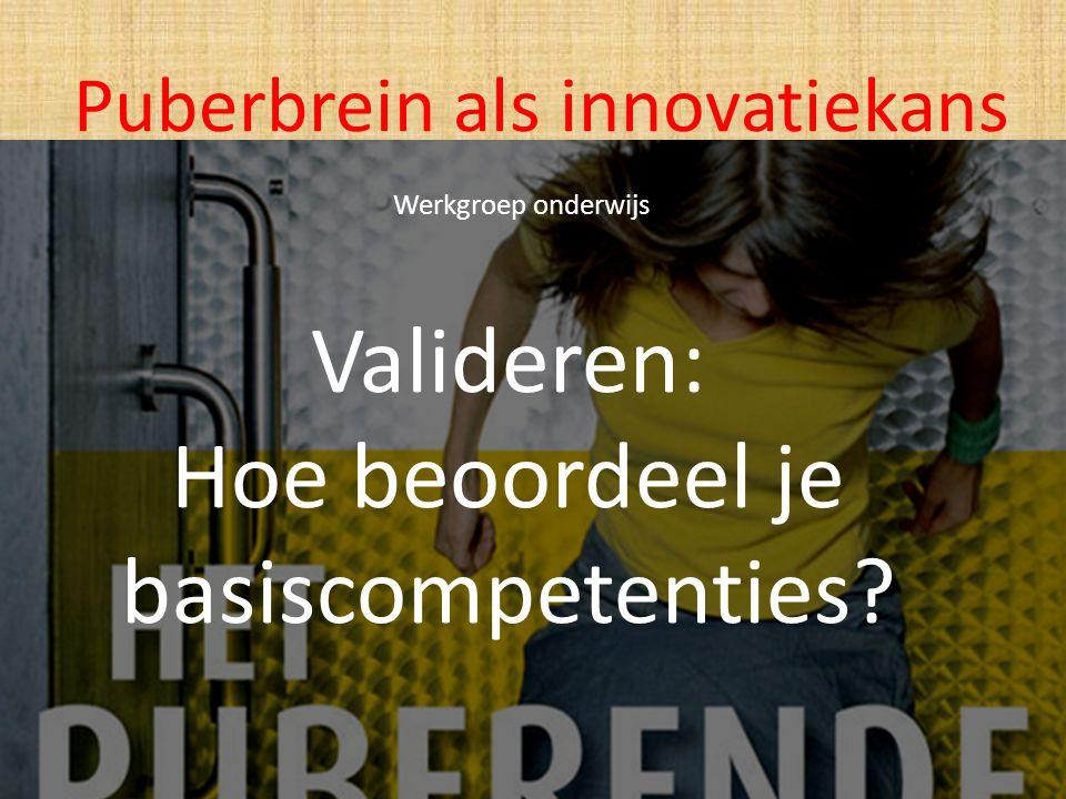 Valideren: Hoe beoordeel je basiscompetenties? Puberbrein als innovatiekans Werkgroep onderwijs