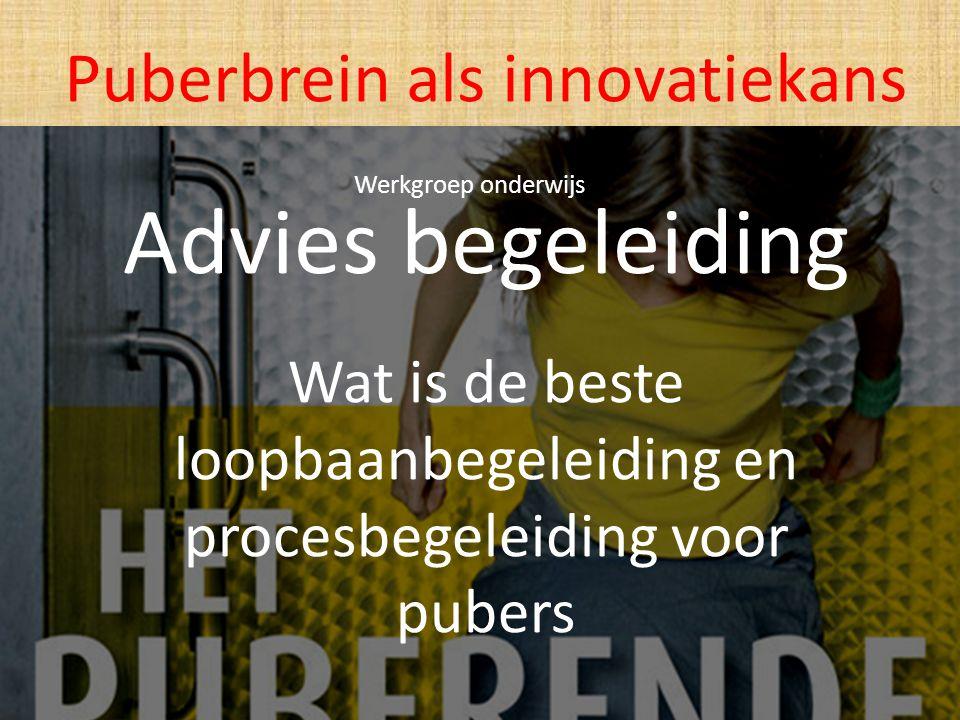 Advies begeleiding Wat is de beste loopbaanbegeleiding en procesbegeleiding voor pubers Puberbrein als innovatiekans Werkgroep onderwijs